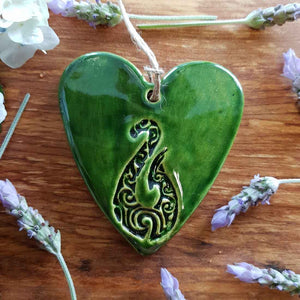 Green Ceramic Heart with Fishhook in Box (approx. 8.8 x 8 cm)