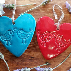 Love Bird Embossed Ceramic Heart in Box (assorted colours approx. 8 x 8cm)