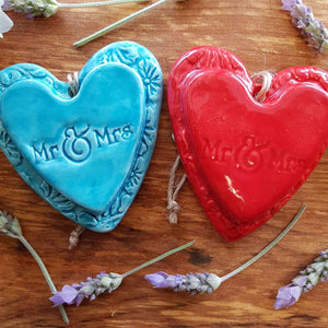 Mr & Mrs Embossed Ceramic Heart in Box (assorted colours approx. 8.5 x 7.5cm)