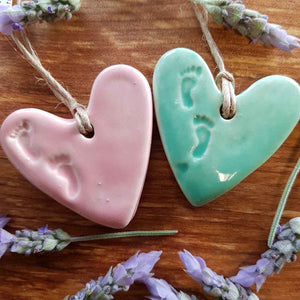 Footprints Ceramic Heart (assorted colours approx. 5 x 5cm)