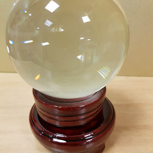 Crystal Ball & Stand. (glass approx 11cm diameter)