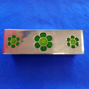 Green Flower Metal Trinket Box (approx. 17x5.5x3cm)