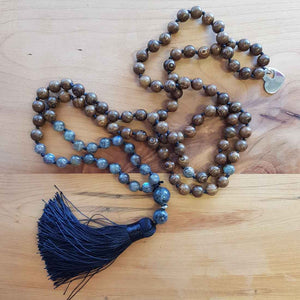 Labradorite & Wood Mala/Prayer Beads (108)