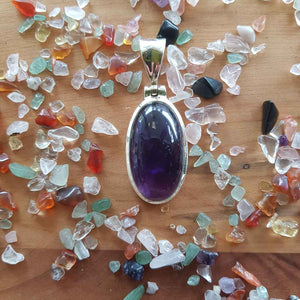 Amethyst Oval Pendant (sterling silver)