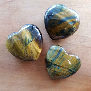 Blue Gold Tigers Eye Heart (assorted approx 3x3cm)