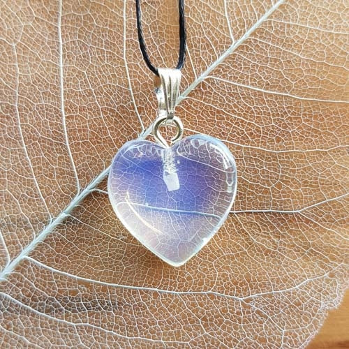 Opalite Heart Pendant (20mm man made silver plated)