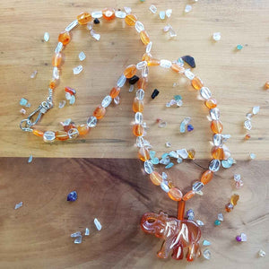 Carnelian Elephant & Clear Quartz Necklace