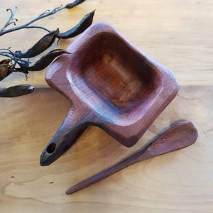 Totara Salt Dish & Spoon Hand Crafted in New Zealand from 500 year old Totara from the Feilding Area (approx. 12x9x3.5cm)