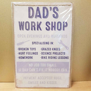 Dads Workshop Metal Sign (aprox. 30x20cm)