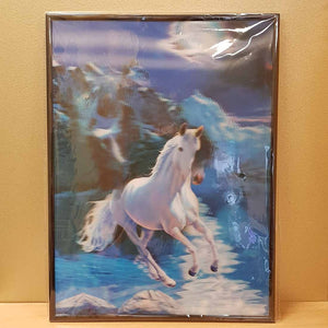4D White Horse Cantering (39x29cm)