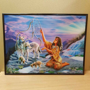 4D Native American Woman with Wolf Family (39x29cm)