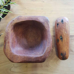 Totara Mortar & Pestle Hand Crafted in New Zealand from 500 year old Totara from the Feilding Area (approx.11x11x5cm)