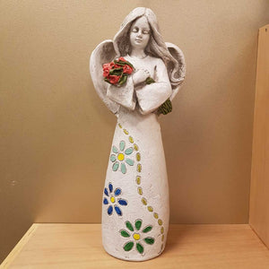 Angel Holding Roses (approx 42x17.5x13cm polyresin suitable outdoor & inddo
