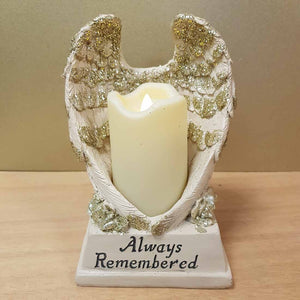 Always Remembered Angel Wings with Candle (approx. 18x12cm)