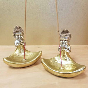 Gold Boy Monk Incense Holder (approx 11x11cm)