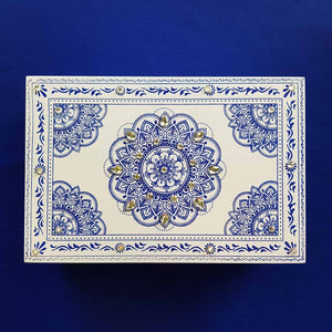Blue & White Mandala Box (approx. 24x16cm)