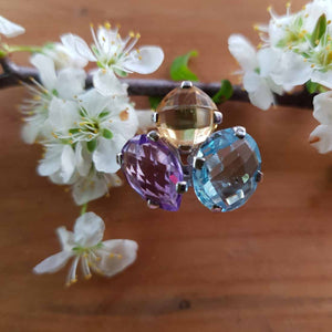 Amethyst Citrine Blue Topaz Ring