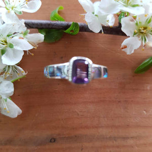 Amethyst & NZ Paua Ring (sterling silver)