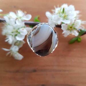Agate with Marcasite Ring Set in Sterling Silver
