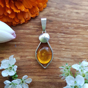 Amber Pendant (sterling silver)