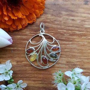 Amber Tri Colour Pendant (sterling silver)