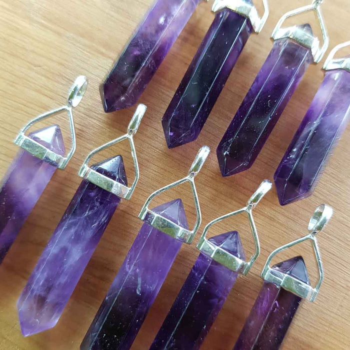 Amethyst Point Pendant A-Grade. (assorted. set in sterling silver)