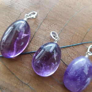 Amethyst Tumble Pendant (assorted. sterling silver bale)