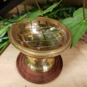 Brass Triple Moon Charcoal Burner with Coaster. (approx. 6x6cm)