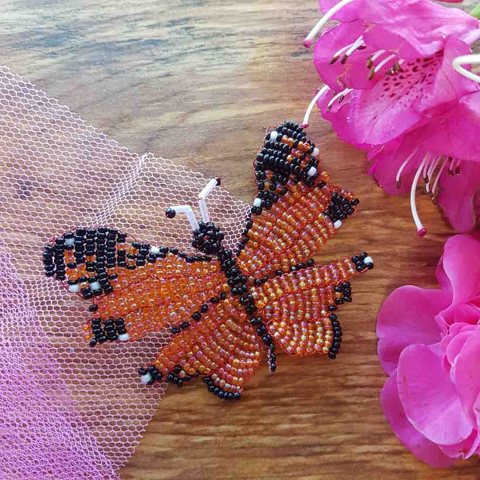 Beaded Butterfly Orange & Black Handcrafted by Freya (approx. 8x6cm)