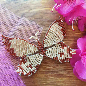 Beaded Butterfly Cream & Brown Handcrafted by Freya (approx. 10x6.5cm)