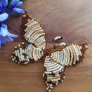 Cream & Brown Beaded Butterfly Handcrafted by Freya (approx. 9x6cm)