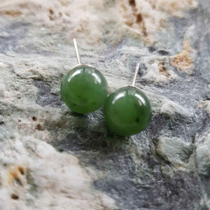 Pounamu (NZ Greenstone) Stud Earrings (sterling silver)