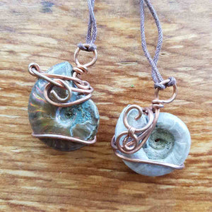 Ammonite & Copper Pendant