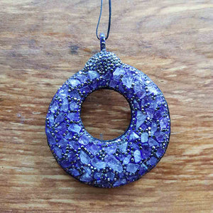 Amethyst set in Polymer Clay with Rhinestones Pendant