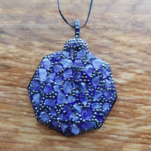 Amethyst set in Polymer Clay with Rhinestones Pendant.