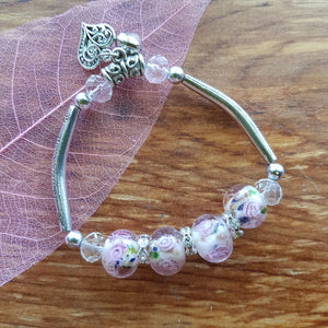 Flower Bead Bracelet with Charms