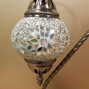 White & Silver Turkish Swan Neck Style Mosaic Lamp (approx. 37cm)