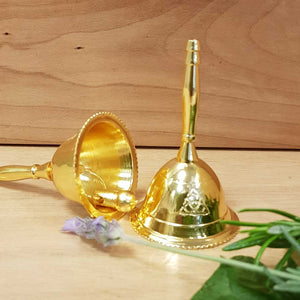 Triquetra Altar Bell (brass with gold finish approx. 7x4cm)