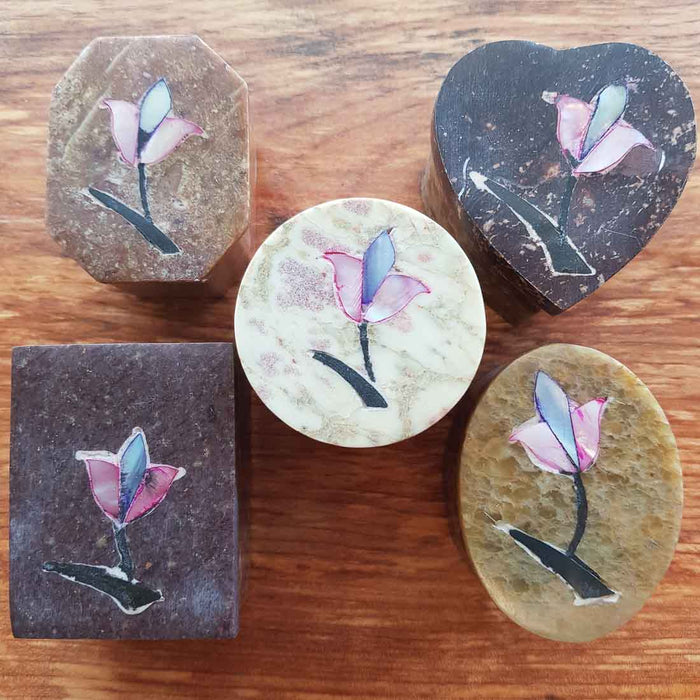 Small Soapstone Trinket Box (assorted)