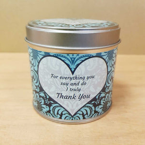 Thank You Soy Candle in a Tin (approx. 7.5x7cm & 35 hours burn time)