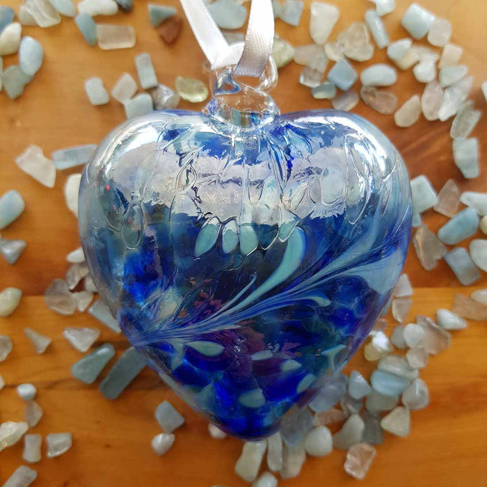 Blue Hand Crafted Friendship Heart. (glass. approx. 8x8cm)
