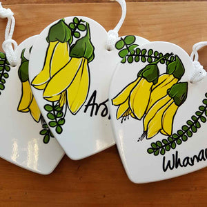 Kowhai Ceramic Heart for the Wall (3 assorted approx. 15x15cm)