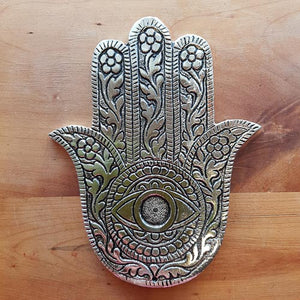 Hamsa Hand Incense Holder (white metal approx. 13x10cm)
