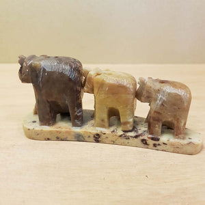 Elephant Trio Soapstone Incense Holder (approx 10.5x4.5cm)