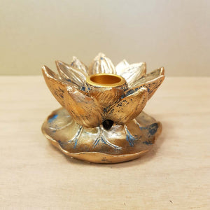 Bronze Look Lotus Backflow Incense Burner (approx. 4.5x7x7cm)