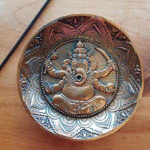 Ganesh Copper Look Incense Holder (approx. 12.5x12.5cm)