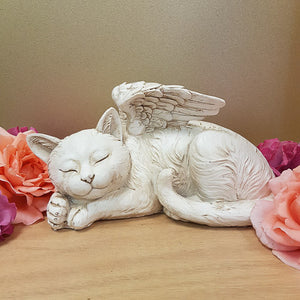 Cat Angel Memorial Statue (approx. 26x13cm)