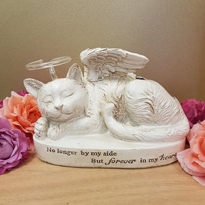No Longer By My Side Cat with Halo Solar Memorial (approx.22x12x15cm)