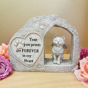 Cat Your Paw Prints Memorial Statue (approx. 18.5x23x5cm)