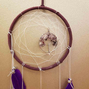 Amethyst Tree of Life Dream Catcher (approx. 16cm diameter)